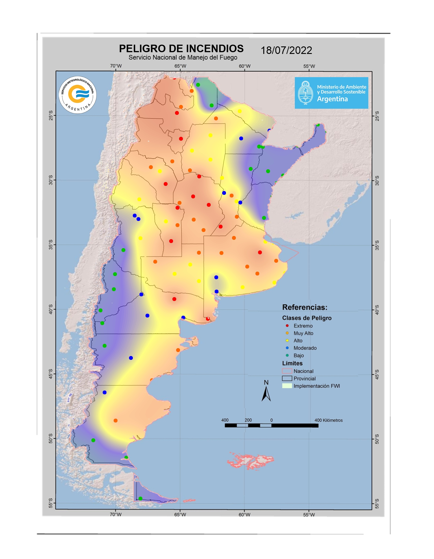 Mapa de indice de Peligro de Incendio DIA +3 a 72hs